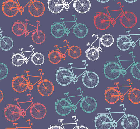 Vintage bike, seamless pattern background. Vector