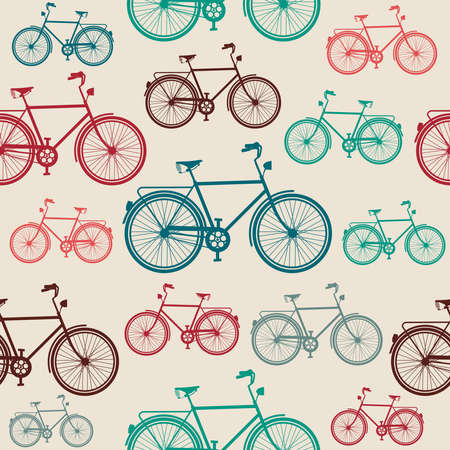 bicycling: Retro hipster bicycle, seamless pattern background.  Illustration