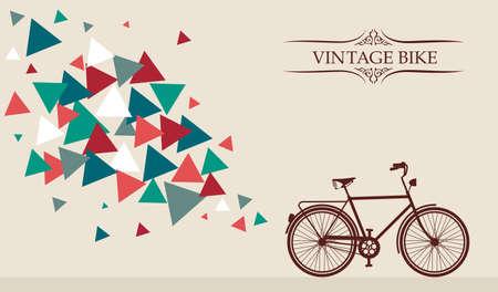 Vintage Bike frame text, triangles splash. Vector