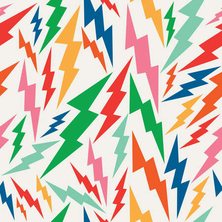 lightning: Vintage hipsters, lightning bolts seamless pattern background.