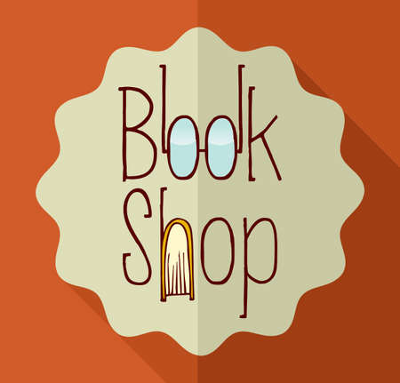 encyclopedias: Vintage book shop, text and eyeglasses icons.  Illustration