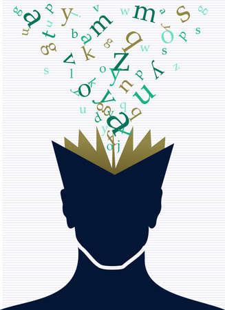 Illustrazione d'annata della spruzzata di parole del libro aperto della testa umana.