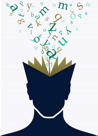 Vintage human head open book words splash illustration.  Illustration