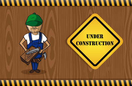 Wood worker cartoon, under construction sign, wood pattern background.  Stock Vector - 21509495