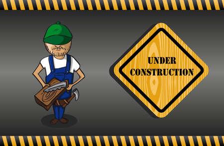 warning saw: Carpenter man cartoon, under construction sign, grey background.