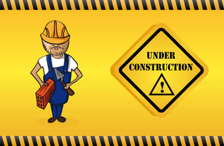 drawing safety: Construction worker man cartoon, under construction warning sign yellow background.