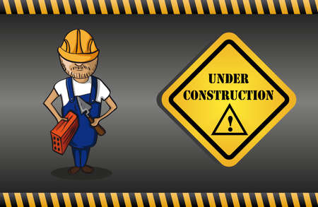 Construction worker man cartoon, yellow under construction warning sign, grey background.  Vector