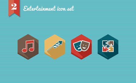 Colorful internet entertainment flat icon set: mobile leisure reservation app elements.  Stock Vector - 21509500