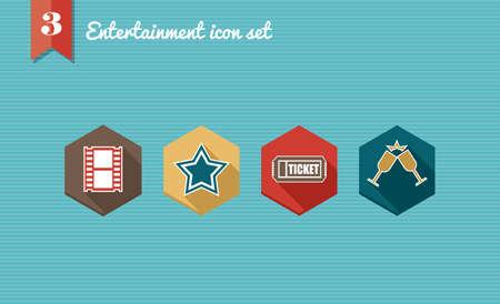 Colorful entertainment flat icon set: mobile leisure app elements. Stock Vector - 21509501