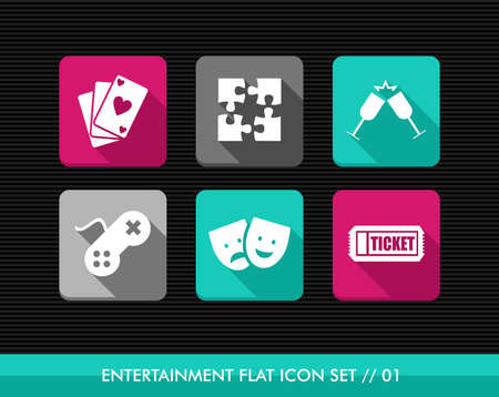 online game: Colorful leisure entertainment flat icon set, online game playing date reservation.