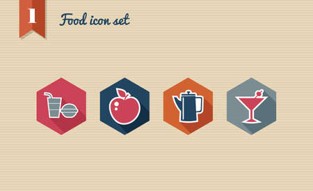 Colorful restaurant food flat icon set, internet menu reservation order app.  Stock Vector - 21509541