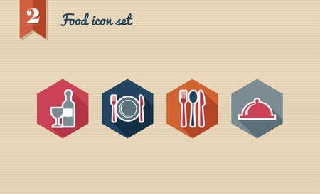 Restaurant food flat icon set, online menu reservation order web app.  Stock Vector - 21509542
