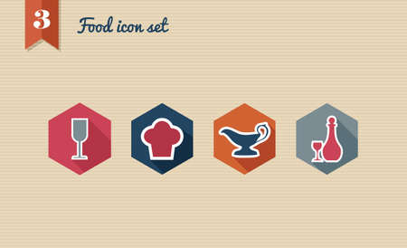 Restaurant food flat icon set, online menu reservation order web app.  Stock Vector - 21509538