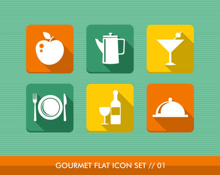 Colorful gourmet restaurant food flat icon set, web app internet menu order reservation.  Vector