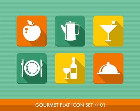 Colorful gourmet restaurant food flat icon set, web app internet menu order reservation. Stock Vector - 21509543