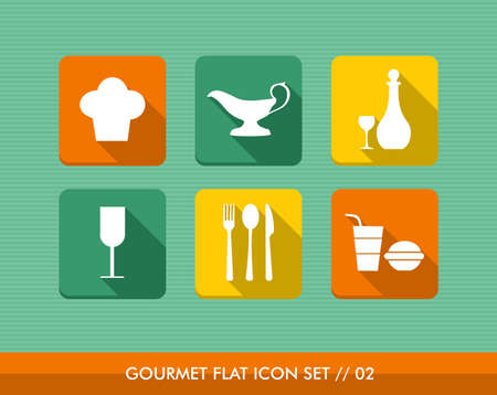 Colorful gourmet restaurant food flat icon set, web app online menu order reservation. Stock Vector - 21509526