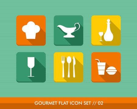 Colorful gourmet restaurant food flat icon set, web app online menu order reservation. Stock Vector - 21509526