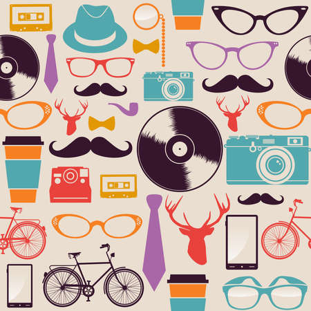 Colorful retro hipsters icons seamless pattern illustration.  Vector