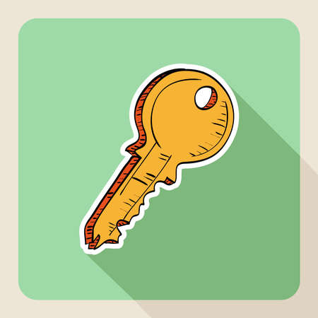 Hand drawn real estate flat icon house key. Vector
