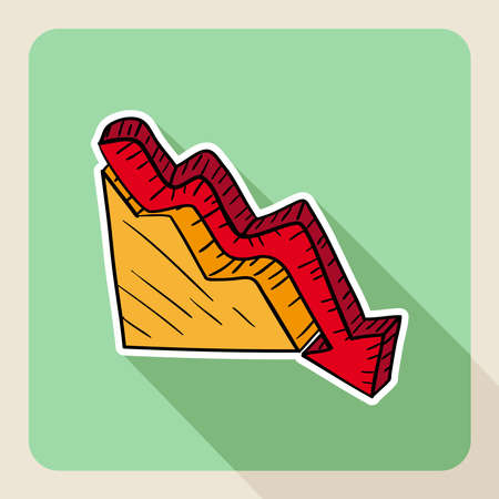 Sketch style real estate flat icon arrow down graphic.  Vector