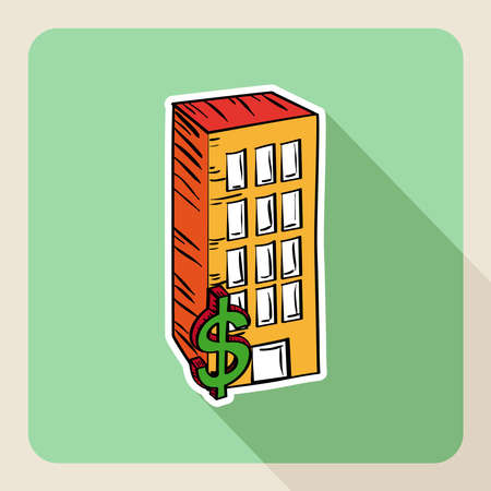 penthouse: Sketch style real state building buy rent flat icon. Illustration