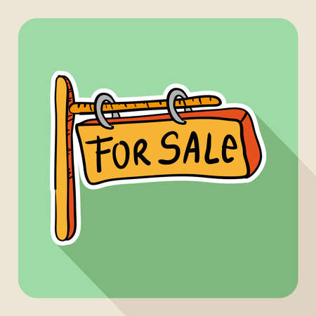 valuation: Sketch style real state for sale post sign flat icon.