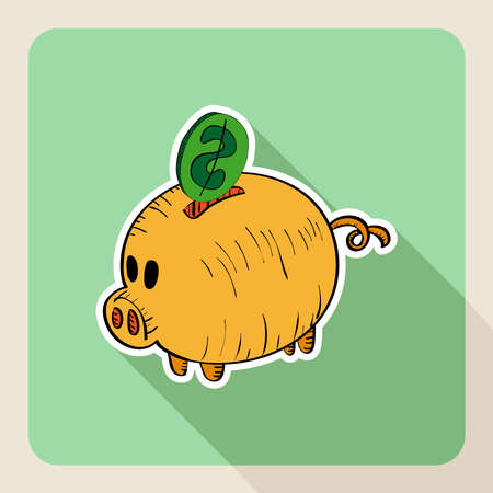 Hand drawn, real state saving concept piggy bank flat icon. Vector