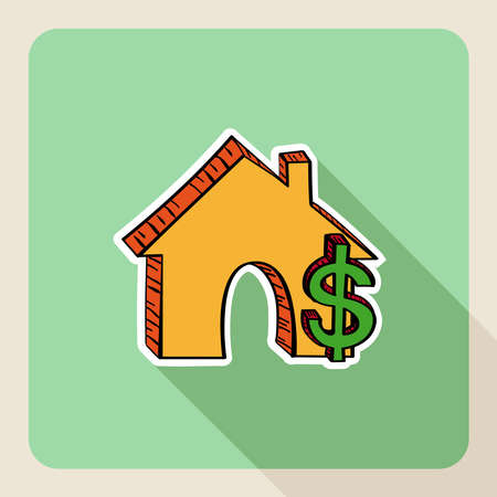 home value: Real state house save money concept flat icons in sketch style.