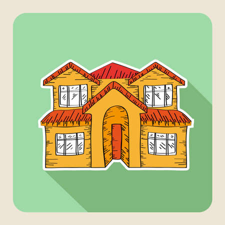for rent: Sketch style, real estate family house flat icon.