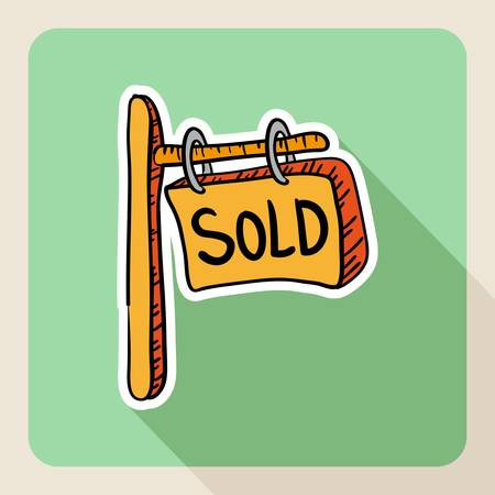 Hand drawn real estate sold post sign flat icon. Stock Vector - 21509540