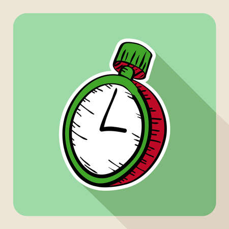 for rent: Sketch style real estate stopwatch flat icon.