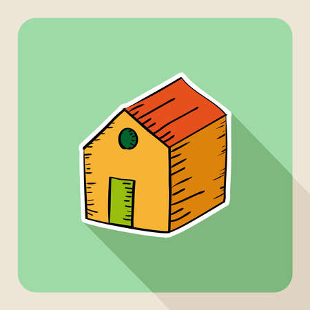 valuation: Sketch style real estate warehouse flat icon.