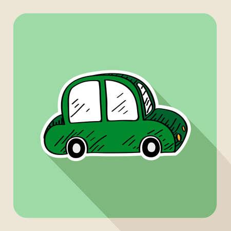 driver license: Sketch style green eco friendly car rental flat icon.
