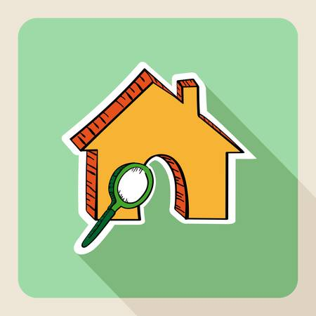 valuation: Hand drawn real state house search magnifying glass flat icon.