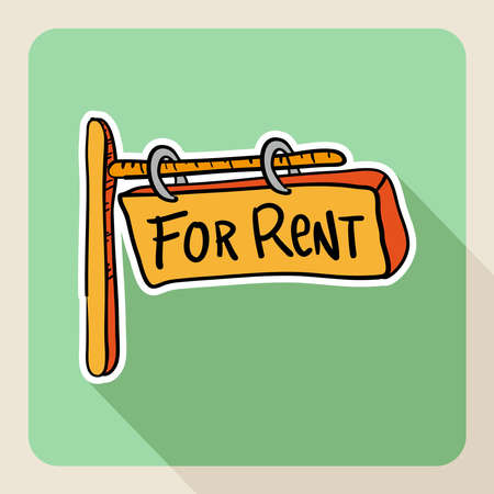 for rent: Vintage real estate sketch style property rental flat icon post sign.