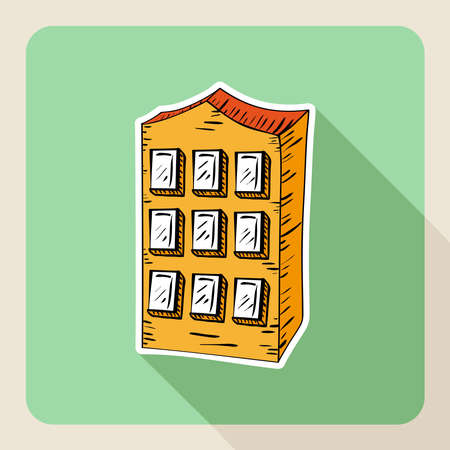 Sketch style realtor business residence building flat icon. Vector