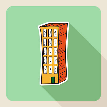 Sketch style realtor business building flat icon.  Vector