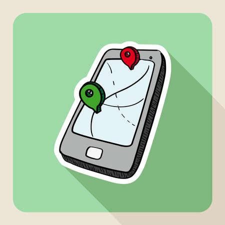 Hand drawn real estate gps smart phone flat icon. Stock Vector - 21509568