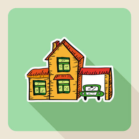 Sketch style real estate house with garage, car rental flat icon.  Vector