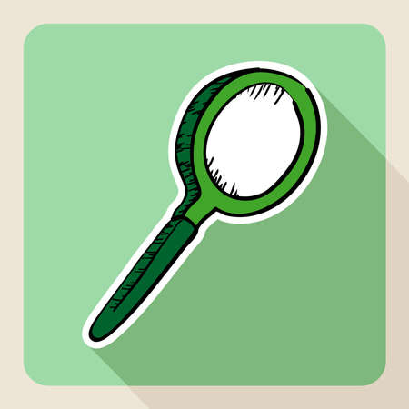 Sketch style real estate magnifying glass searching concept.  Vector