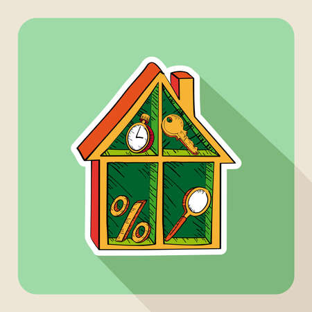 Sketch style real estate frame house business flat icon.  Vector