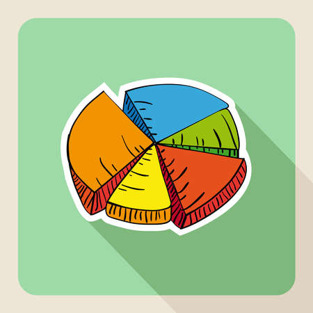 Colorful sketch style circular graphic flat icon.  Vector