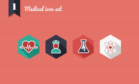Colorful medical health flat icon set, online app for illness assistance.  Stock Vector - 21509576