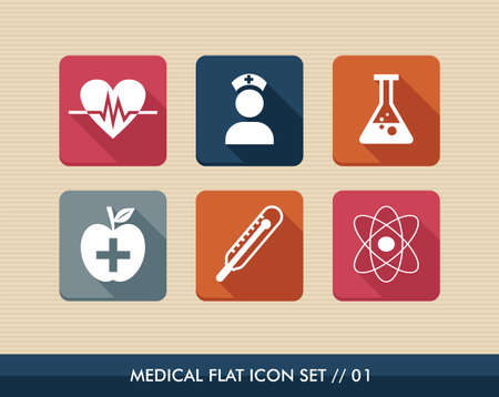 Colorful medical health care flat icon set,wellness assistance web apps.  Vector