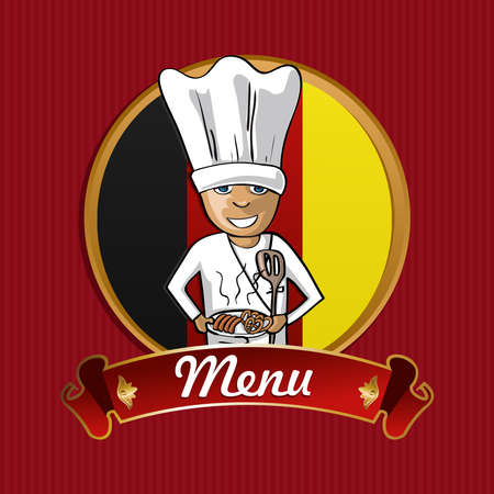 German cook typical food menu label over Germany flag background.  Vector