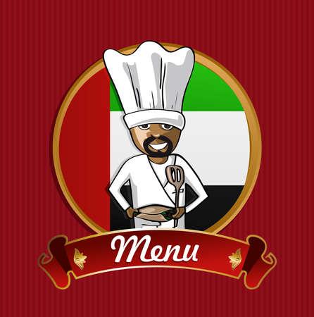 kebab: Arabian cook typical food menu label over Arab emirates flag background.  Illustration