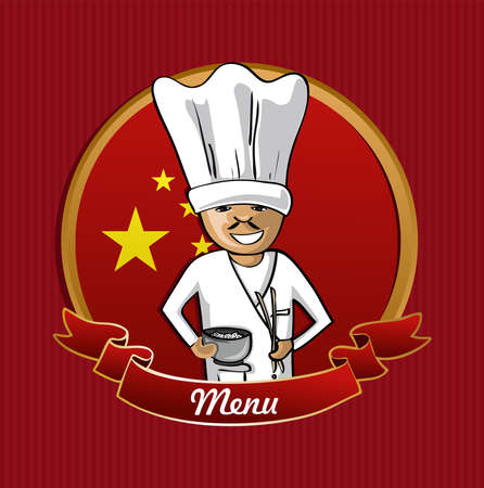chinese fast food: Chinese cook typical food menu label over China flag background.