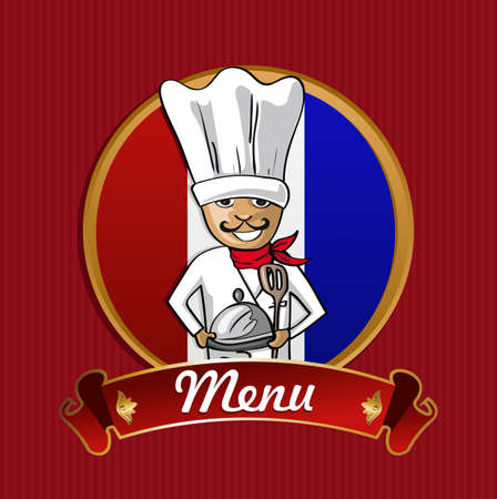 French cook typical food menu label over France flag background.  Vector