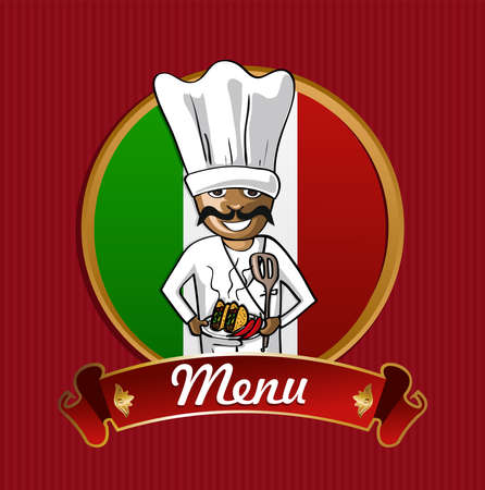 mexican food plate: Mexican cook typical food menu label over Mexico flag background.  Illustration