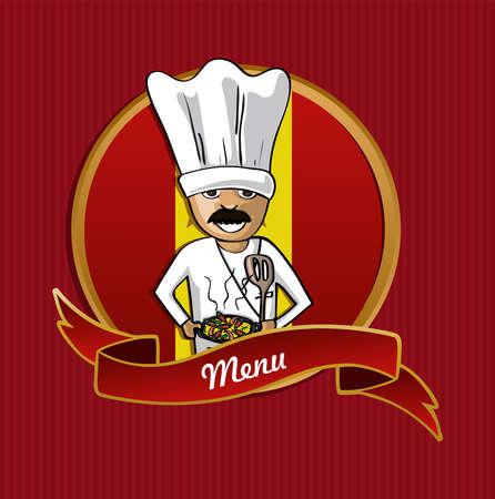 kitchen spanish: Spanish cook typical food menu label over Spain flag background. Illustration
